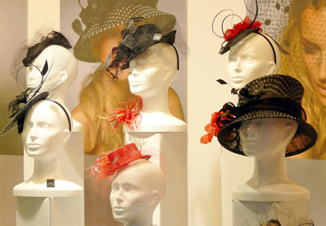 hats on mannequins