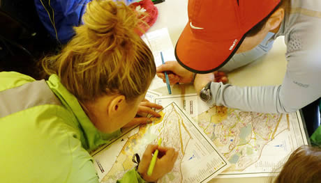 orienteering, checking the route